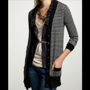 J CREW striped merino wool boyfriend cardigan